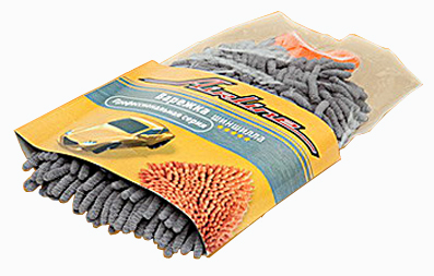 Губка для мытья машины AIRLINE Варежка -шиншила (серая) (ABD01)