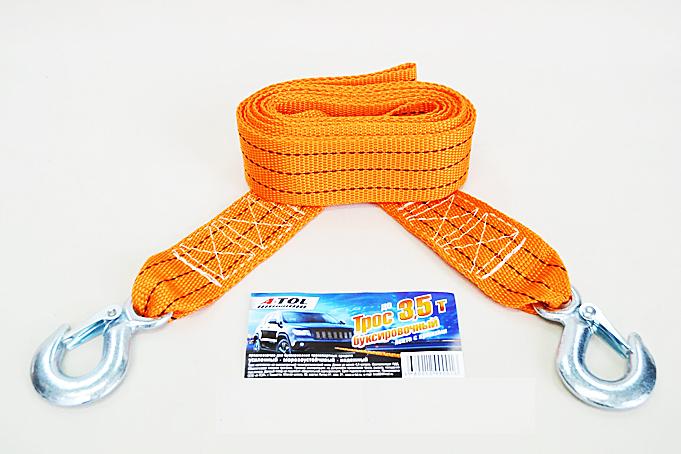 Трос буксировочный  3.5 т с крюками, 4.5 метра, А-Тол в пакете (ТР025)
