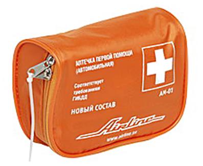 Аптечка автомобильная AIRLINE (Соответствует требованиям ГИБДД) текстильный футляр (AM01)
