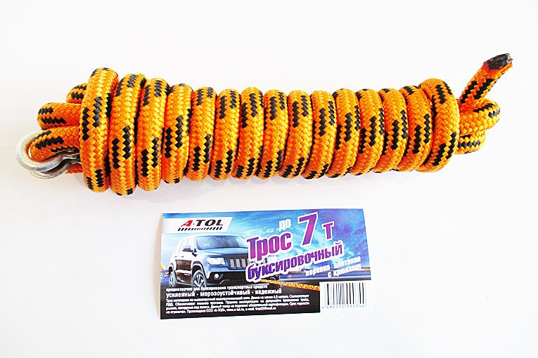 Трос буксировочный  7 т с крюками, 4.5 метра, А-Тол (шнур плетёный) (ТРПЛ041)