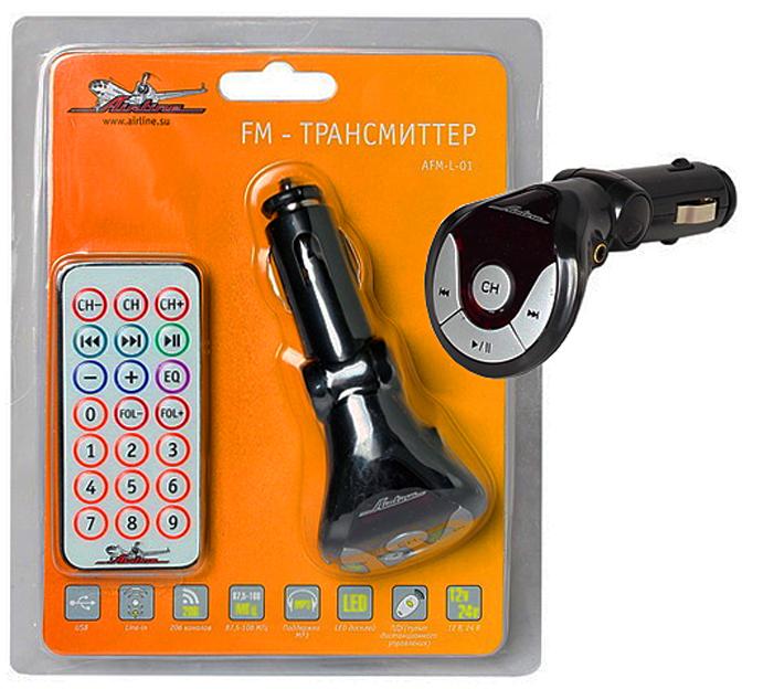 USB MP3+FM трансмиттер с дисплеем и пультом ДУ AIRLINE черный (AFML01)