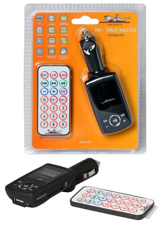 USB MP3+FM трансмиттер с дисплеем, складной с пультом ДУ AIRLINE черный (AFMS03)