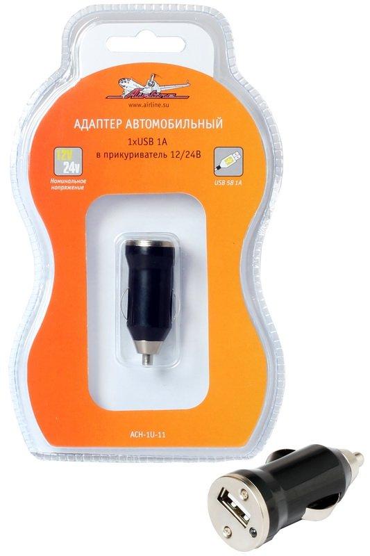 Адаптер автомобильный в прикуриватель 1хUSB 1А 12В\24В AIRLINE  (ACH1U11)