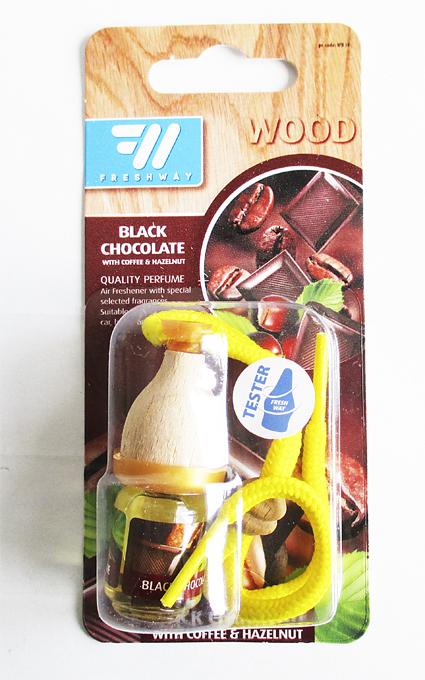 Ароматизатор FRESH WAY WOOD Blister  BLACK CHOCOLATE  (бочонок) (WB38)