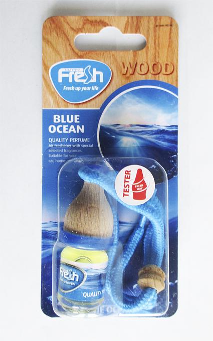 Ароматизатор FRESH WAY WOOD Blister  BLUE OCEAN  (бочонок) (WB06)