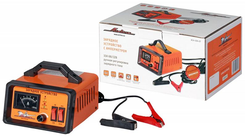 Зарядное устройство AIRLINE (6/12V, 0/10A) амперметр, ручная регулировка, импульсное (ACH10A07)