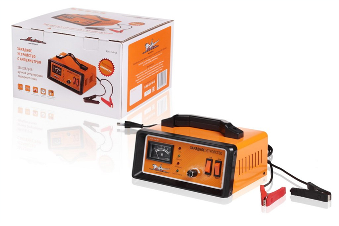 Зарядное устройство AIRLINE (12/24V, 0-15A) амперметр, ручная регулировка, импульсное (ACH15A08)