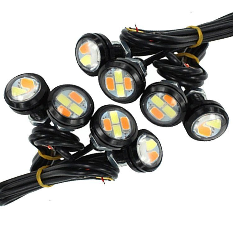 Дневные ходовые огни 4 SMD 23мм 0,5w с повторителем поворота (белый+желтый) GL4002